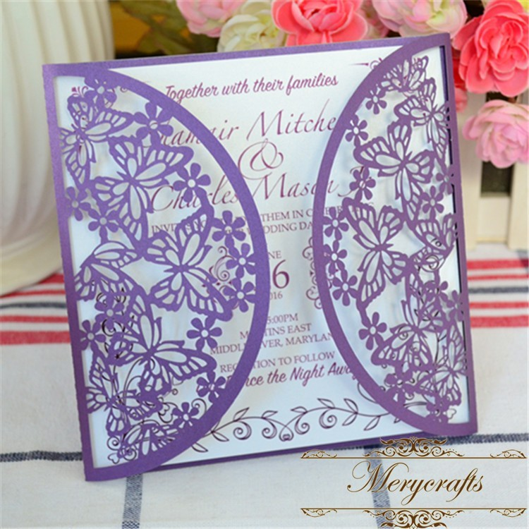 Laser Cut Paper Puberty Ceremony Invitation Card Purple Butterfly – Butterfly Wedding Invitations