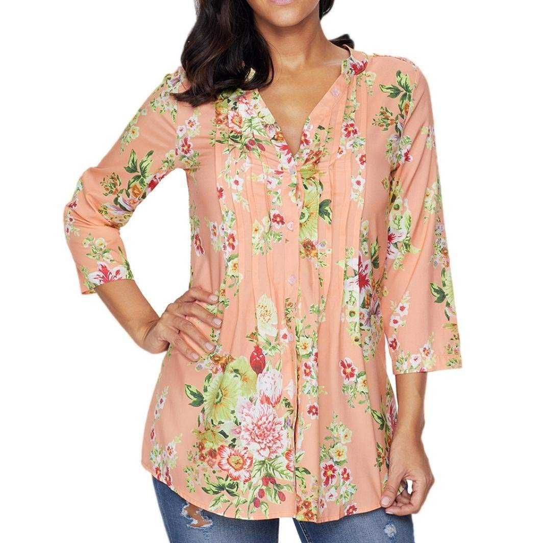 ❤️ V-Neck Printed Tops, Clearance Women Vintage Floral Print V-neck Tunic Tops Women's Fashion Plus Size Tops Autumn Casual Floral Printing Duseedik