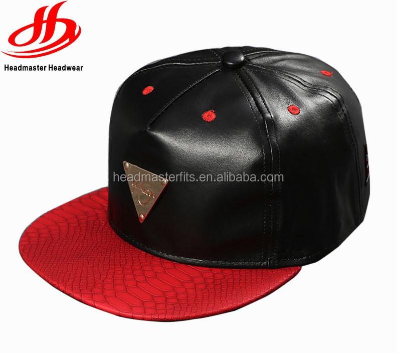 Custom leather snapback hats 6 panel flat bill baseball cap with metal gold  plate logo da61bdcb19ed