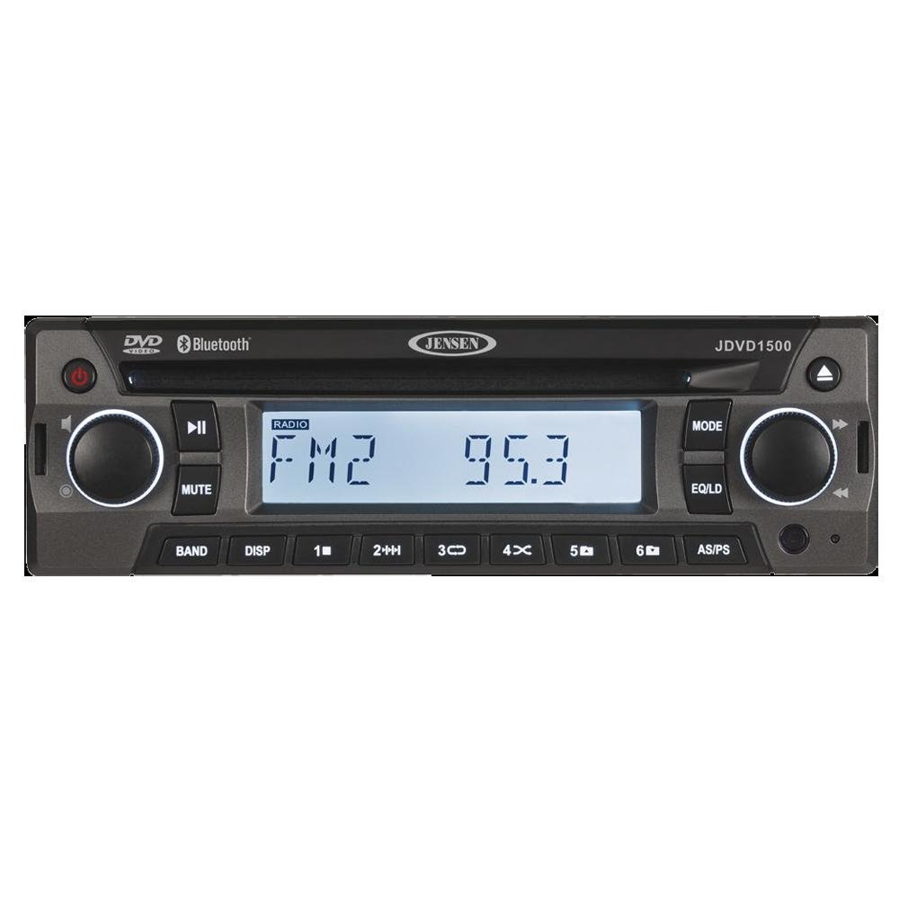 Jensen JDVD1500 Single-DIN 12 Volt AM/FM/CD/DVD/Bluetooth Player with Credit Card-Size Remote Control, Bluetooth Audio, Electronic AM/FM Tuner, Single DVD/CD player (DVD, CD-A, CD-R/RW), MP3 support