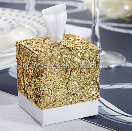"Popular ""Sparkle and Shine"" Gold and Silver Glitter Favor Paper Box"