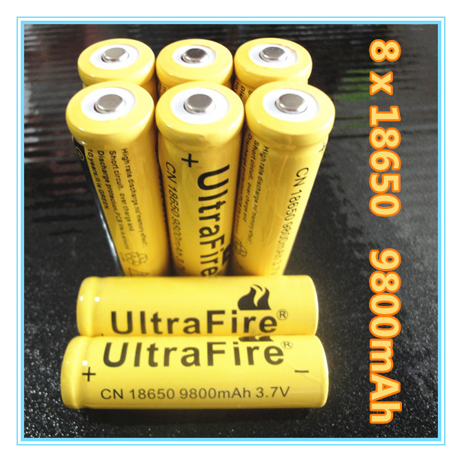 8 PCS Li-ion 9800mAh 3 7V Rechargeable Battery 18650 for LED