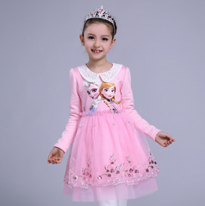 girls dress lace Chinese Style embroidery Beads New Year's Dress for children long sleeve Plush thickening dress
