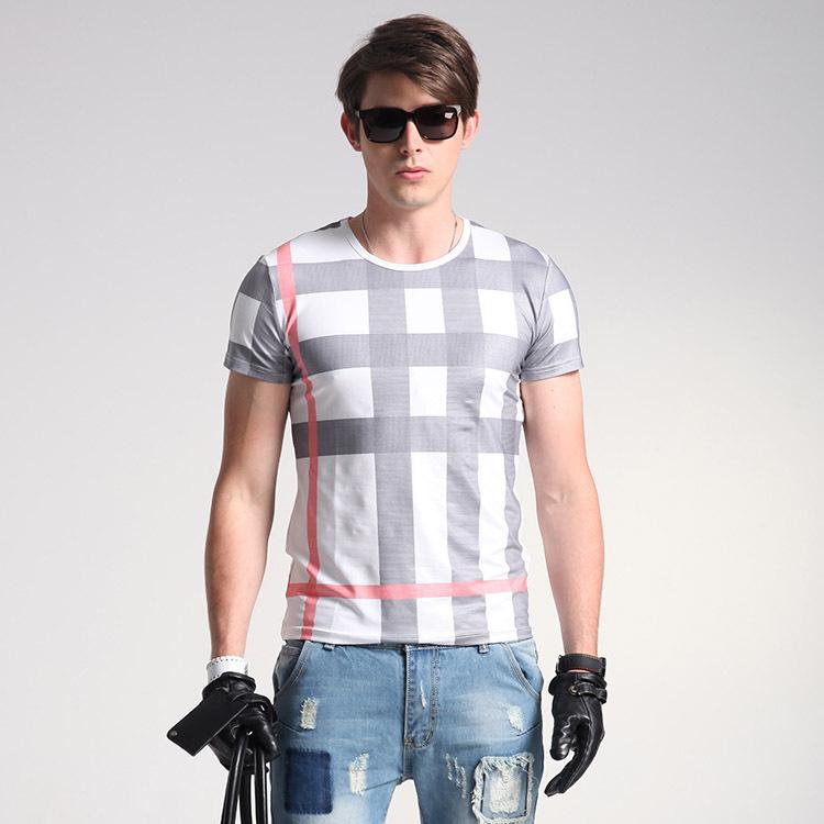 984d34e57d742 الصيف الرجال قصيرة الأكمام تي شيرت مطبوعة قمصان سليم منقوشة زائد حجم الملابس  الرجالية