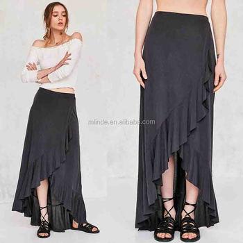 e3b65ca3ae Women Fashion Plain Dyed Spandex Cotton Fashion Summer Ruffle Wrap Long  Jersey Maxi Skirt