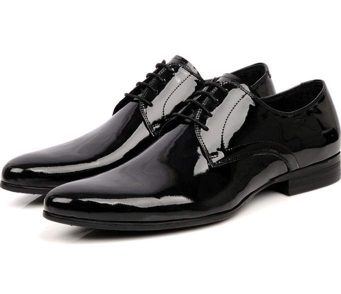 TOP quality luxury men's shoes genuine patent leather pointed toe dress business casual shoes oxfords ym06-2