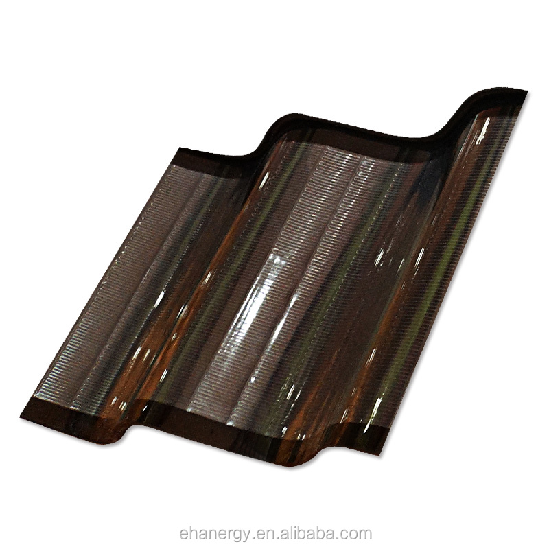 Hanergy Thin Film Solar Curved Roof Tile Easy installation stone coated metal solar roof tiles, stone coated stee with TUV,CE,UL