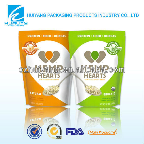 Food packaging material stand up plastic zipper bag for oatmeal