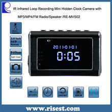 RE-MVS02 Clock Webcam Wireless Battery Operation with Night Vision and Motion Detection and Mini Speaker and Aluminum Body