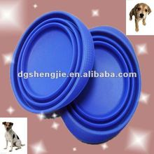 2012 New smart collapsible silicone rubber pet dog food bowl