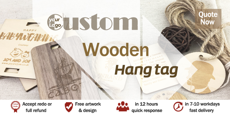 China custom logo design wood hang tag with strings