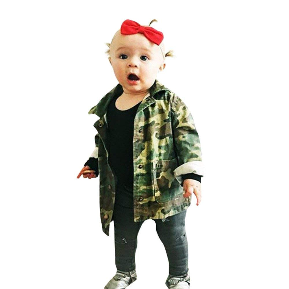 Moonper Kid Infant Toddler Baby Boys Girls Winter Autumn Warm Camouflage Letter Denim Coat Cloak Jacket Thick Clothes
