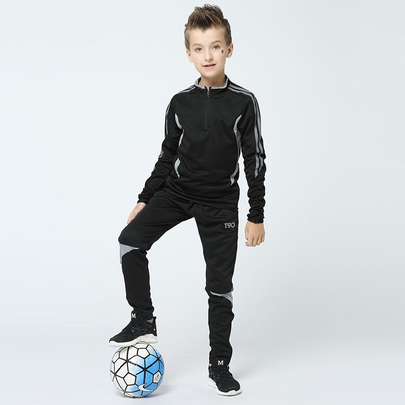En gros Automne Enfants Vêtements D'entraînement Garçons Courir Fitness Sport Survêtement taille Personnalisée gym Sportswear Enfants Uniformes De Football
