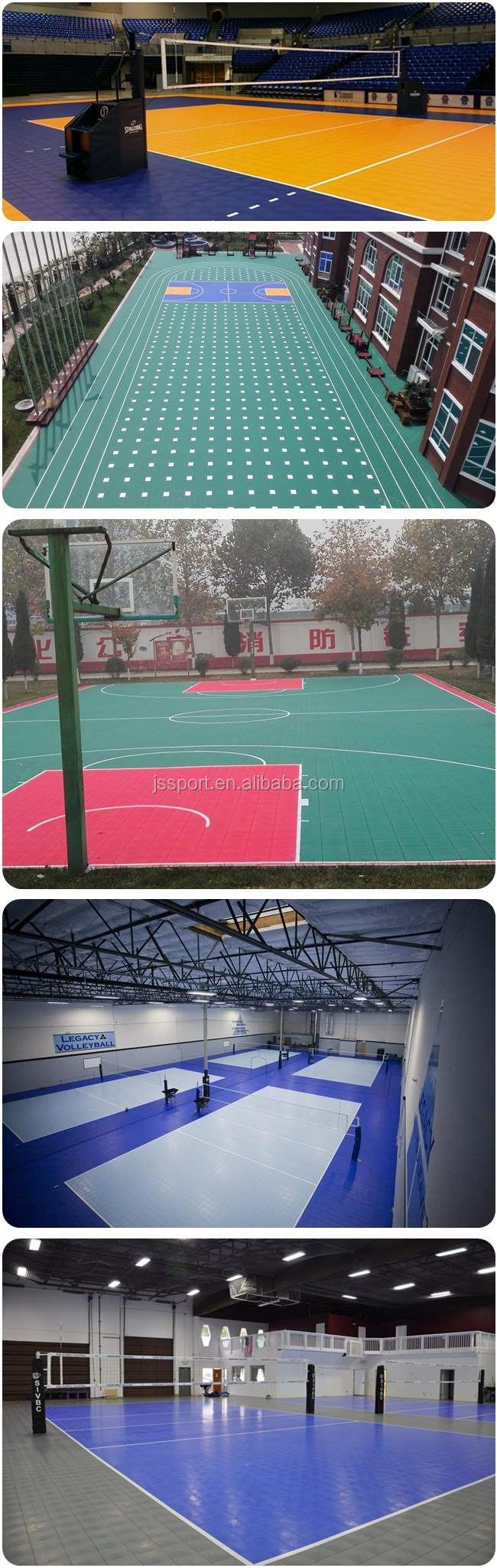 Recycled environmental portable basketball court sports for Sport court flooring cost