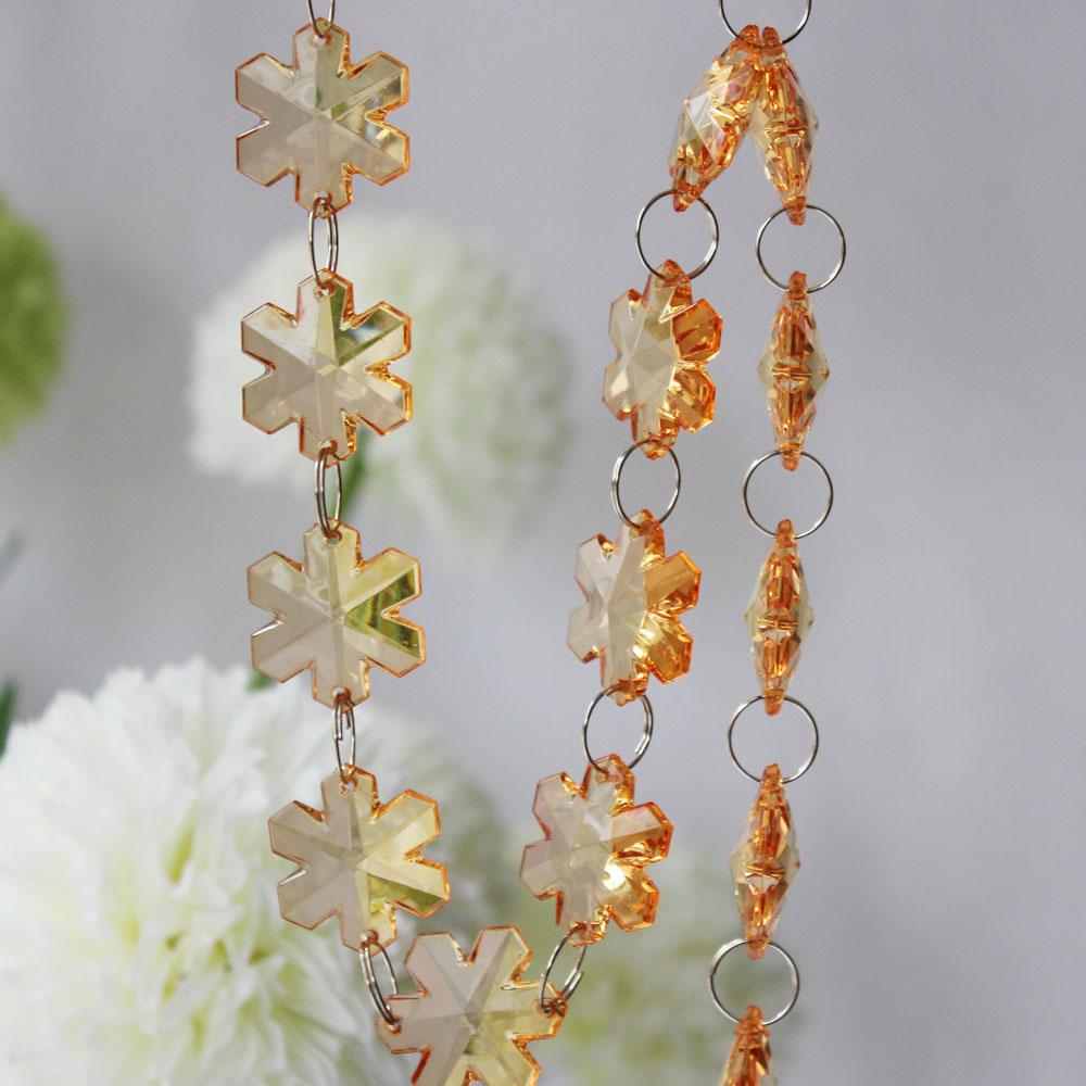 10M Clear Crystal Acrylic Chain Garland Chandelier Snowflake Wedding Party Decor