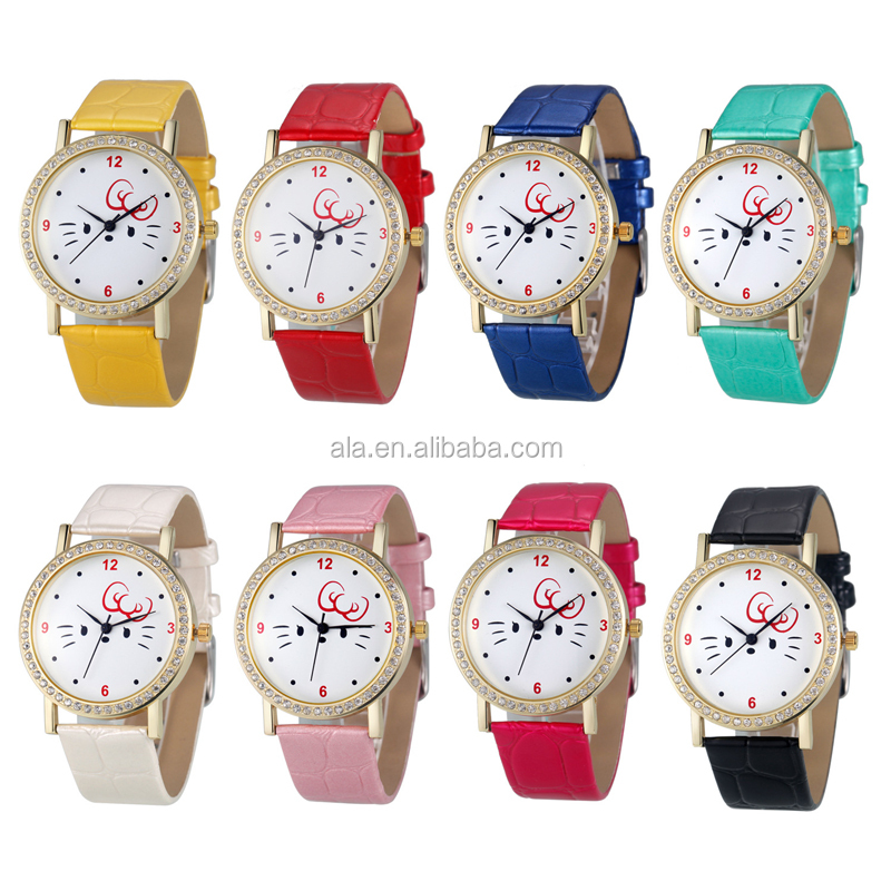 Genuine Leather quartz women Watch Black Chronograph Function women Wrist Watch Water Resistance
