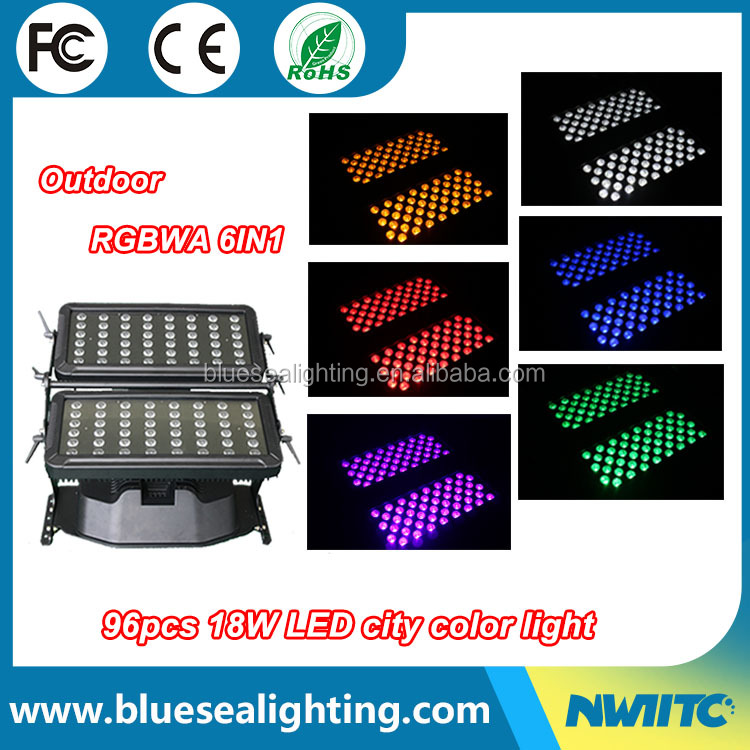 Outdoor stage lights dmx wash light 96x18w rgbwa uv rgbw led wall washer
