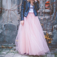 YSMARKET 100% Real Photos 7 Layers 100cm Maxi Long Skirts Sexy Adult Handmade Tulle Fashion Wedding Skirt For Women E5340