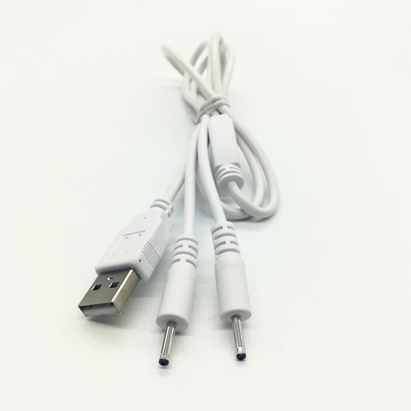 DC cable 1 to 2 way DC splitter USB cable , 2 in 1 USB to DC 2.5mm plug male Y USB splitter cable