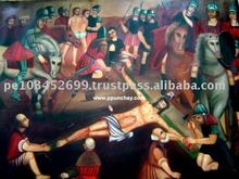 "Art Oil Painting ""Crucifixion of Christ"" 47x31"" Peru"