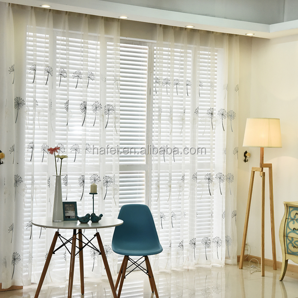 Custom ready made voile embroidered white window sheer curtain