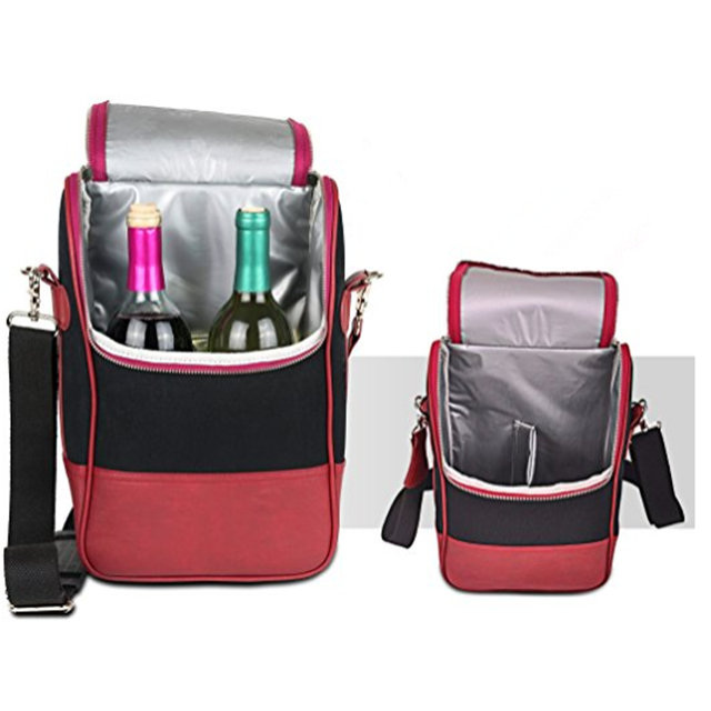 Osgoodway China Suppliers Insulated Wine Carrier Tote Bag PU Leather Lunch Cooler Bag Backpack for Outdoor Activity