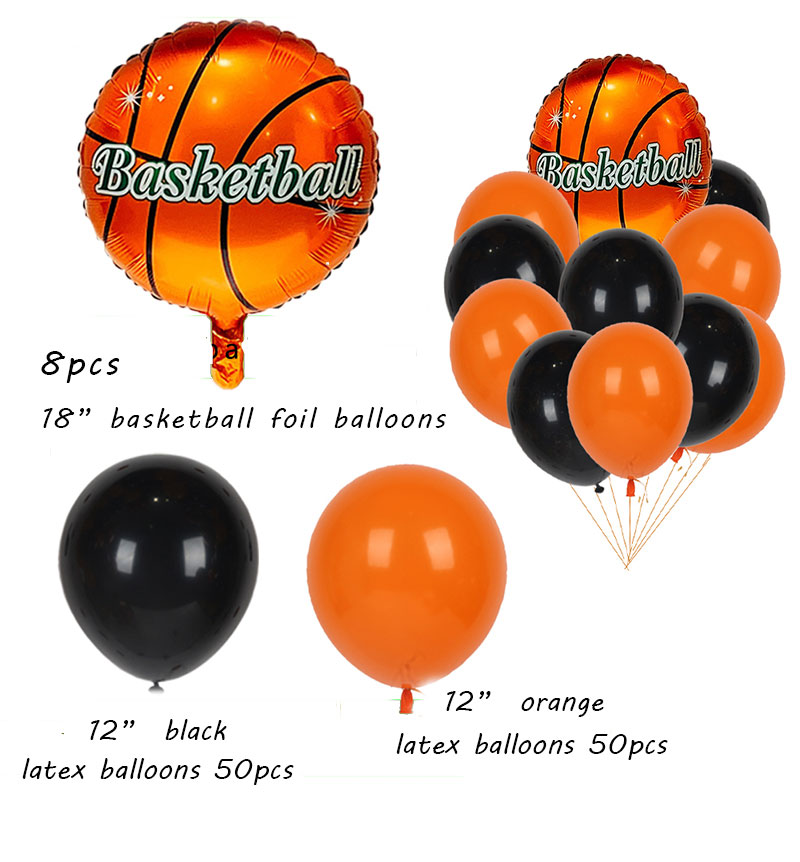 Basketball Party Supplies Foil / Latex / Helium Balloon For Birthday Party Decorations Kids Orange Balloon Arch set
