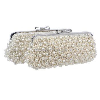 cdfc1dc156 Perle bianche da sera delle signore cena pochette sposa sacchetto per party  di nozze sera borse