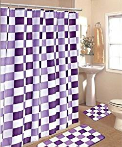 BATHROOM BATH MAT SET RUG CARPET FABRIC SHOWER CURTAIN HOOKS STYLE CHECKER COLOR PURPLE CHECKER