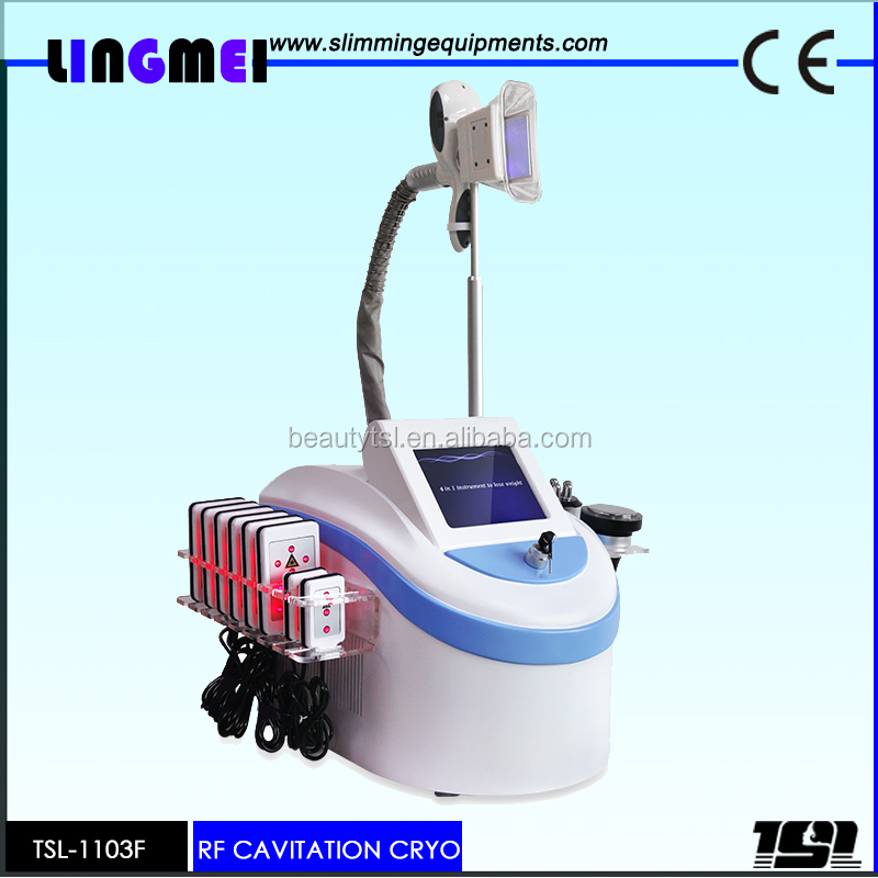 Lingmei best selling 5 in 1 lipolaser+vacuum+cavitation+rf cryolipolysis slimming instrument