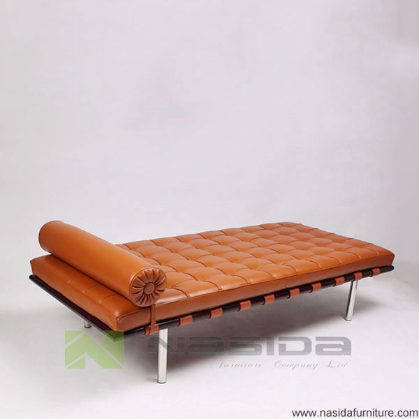 SF204 aniline leather brown Barcelona Daybed in office : barcelona chaise - Sectionals, Sofas & Couches