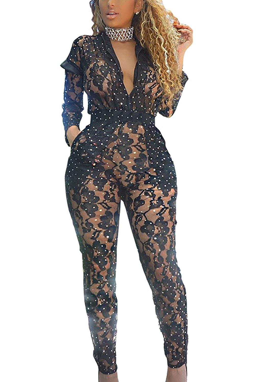 741b671544f Get Quotations · Women Elegant V Neck Sheer Paillettes Full Length Jumpsuits  Sequins Rompers Clubwear