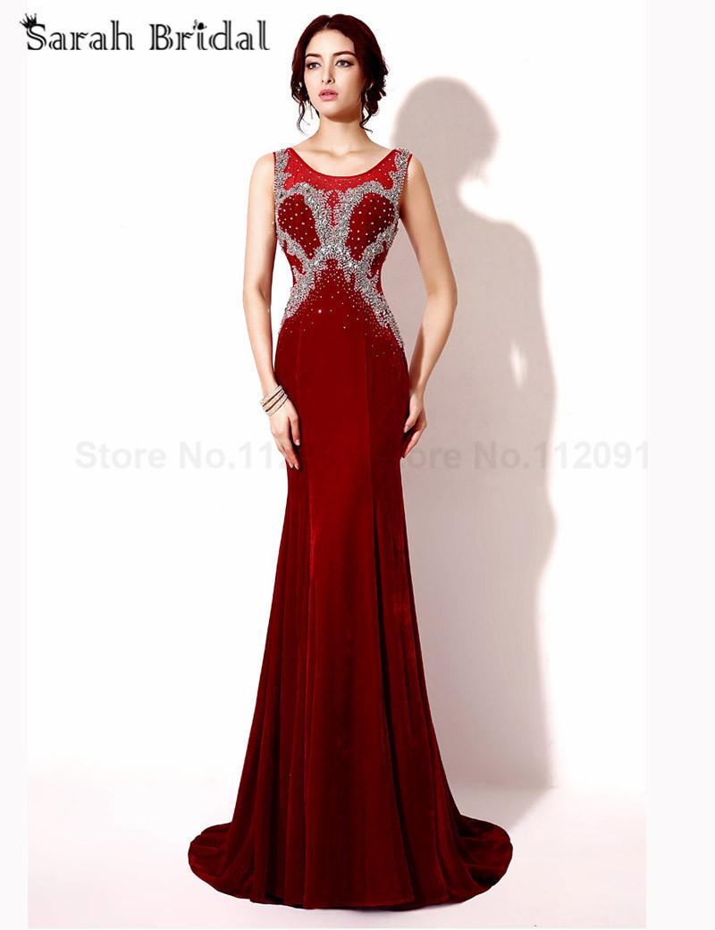 bd1d8ebbc2 Get Quotations · Burgundy Velvet Evening Dresses Mermaid 2015 Fashionable  Crystal Beading prom Gowns Sleeves vestidos de festa In
