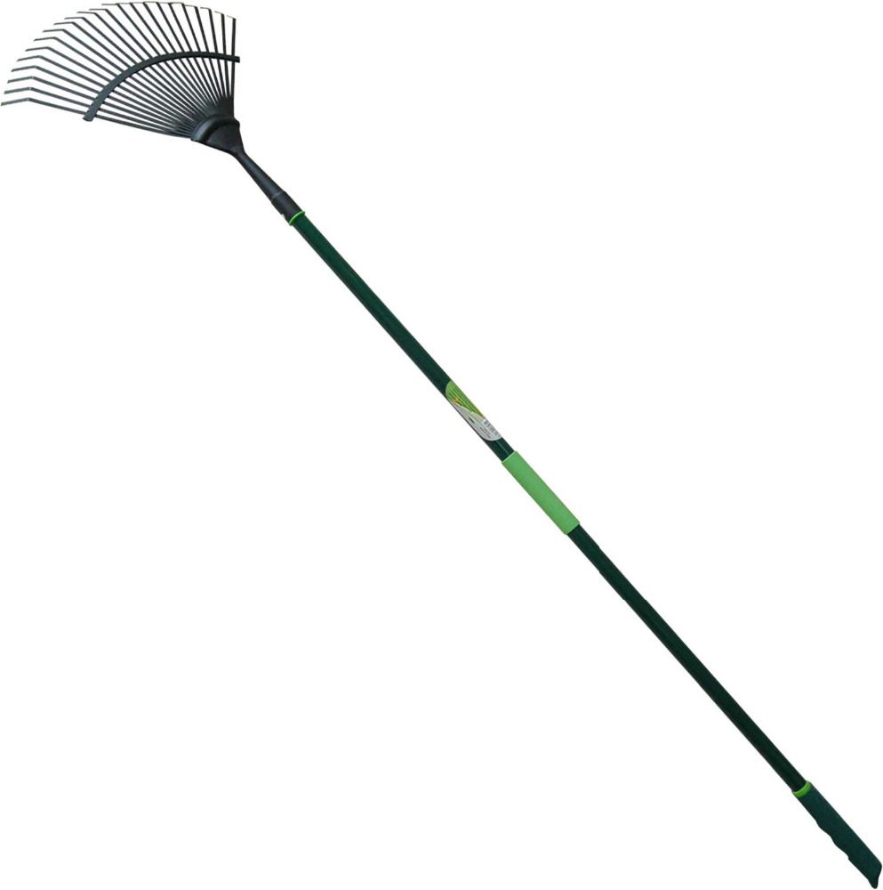 High Quality Garden Tools 22T Carbon Steel Leaf Rake with Fiberglass Handle