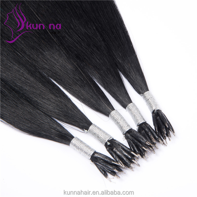 Fashion jet black #1 Nano ring remy human hair extension