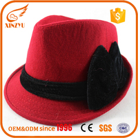 Winter style felt fedora hats cheap women red wool hat fedora for sale