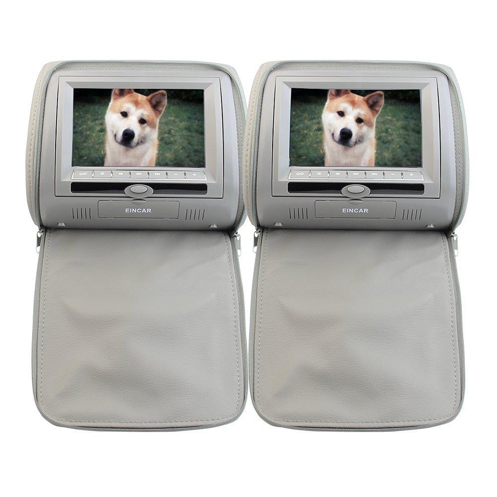 "Hot Seller 7"" LCD 2PCS Pair of Headrest Car Pillow Monitor DVD player Dual Twin Screens USB SD IR FM Transmitter 32 Bit Games, Zipper Cover -- Gray Grey Color"