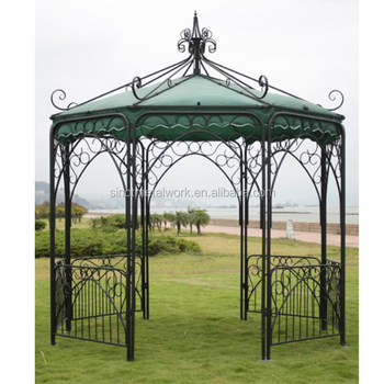 Vintage Wrought Iron Garden Gazebo Decorative Metal Pergola Pavilion 3 3m