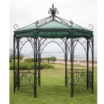 Vintage Wrought Iron Garden Gazebo Decorative Metal Pergola Metal Garden  Pavilion 3*3m