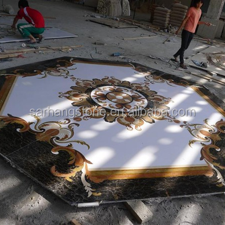 China Luxury Hotel Floor Design Stone Waterjet Marble Medallion For hotel lobby