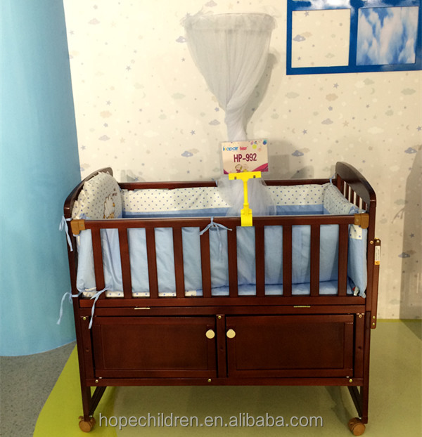 Drawer wooden baby bed / crib for new born baby HP-992