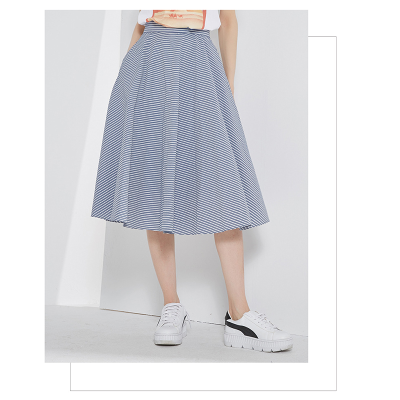 Newest Blue Stripe A Line Pocket Casual Plus Size Woman Midi Skirt