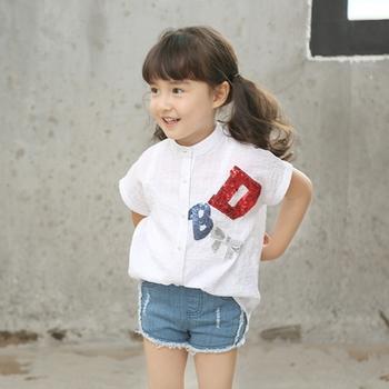 Ms64875c Korean Fashion Sequin Design Kids Girls Top Brand Casual