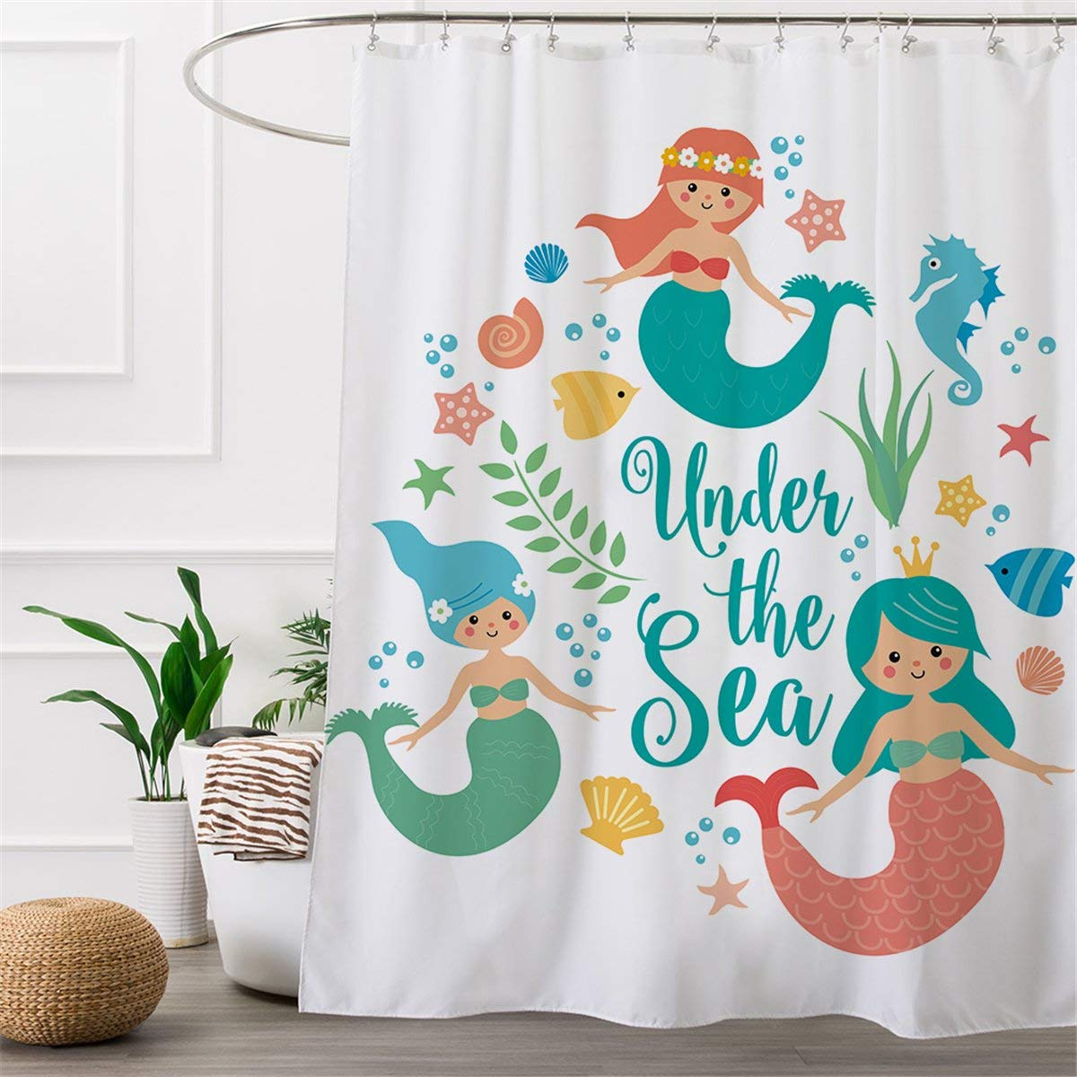 Get Quotations ARIGHTEX Little Mermaid Shower Curtain Bath Kids Tub Mildew Resistance 72