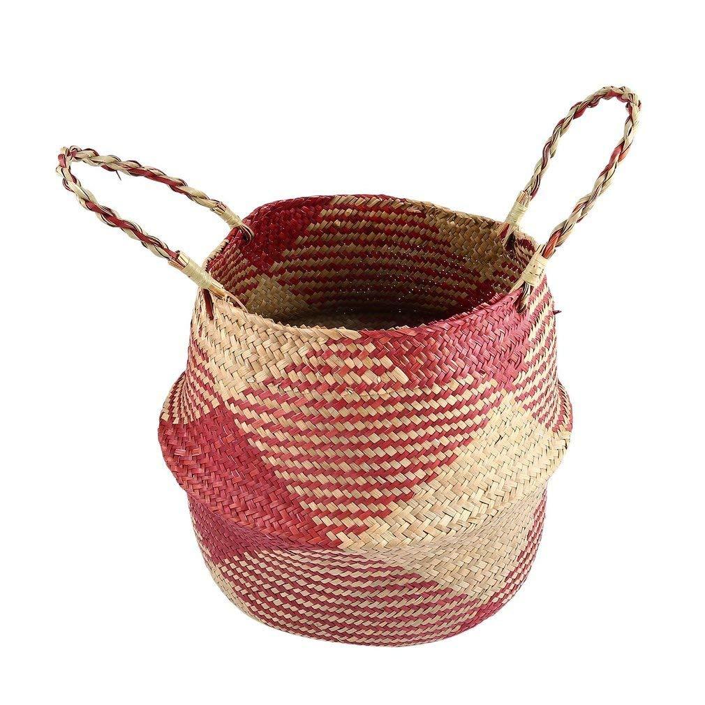 YCDC l Lightweight Seagrass Tote Belly Basket,Home Planter, Handmade Hanging Craft, Flowerpot, Garden Pot Lightweight Seagrass Tote Belly Basket Foldable Storage Organizer Home Planter
