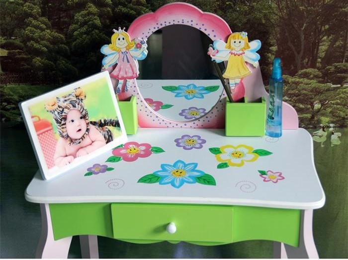 Sample Available Factory Cost Effective Kids Girls Dressing Table with Mirror Play Set