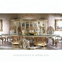 European elegant Palace Dining Room Furniture Wooden Carving Dining Table Set with 12 chairs