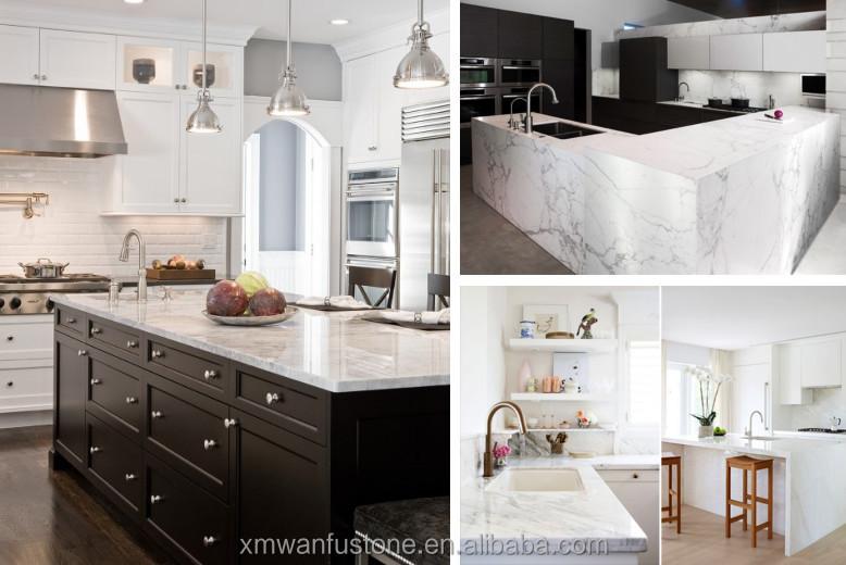 Wit marmer keuken en bar boven, marmeren gelamineerd blad eetkamer ...