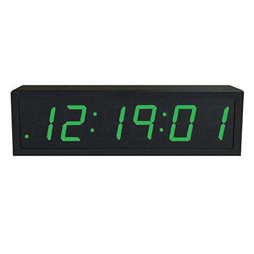 TimeMachines Precision Digital PoE Clock, 2.5″ x 6 Green Digits, Black Case