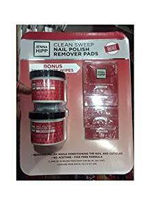 Jenna Hipp Nail Polish Remover Pads, 55 round pads (each 3.68 SQ. IN.) (2 jars), 5 Square Pads (5x5) IN